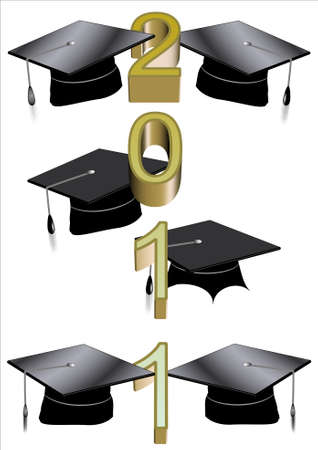 grad: grad caps on white with 2011 text in 3d