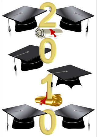 grad: 2010 grad caps on white with text in vertical style  Illustration