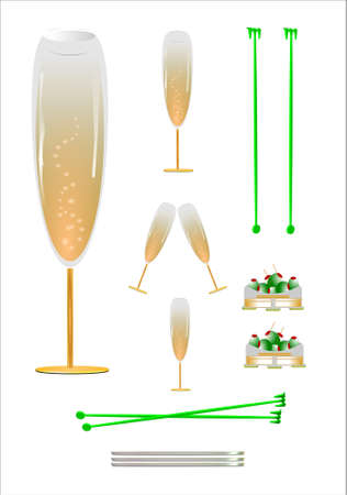 champagne glasses on white with olives and coasters Illustration