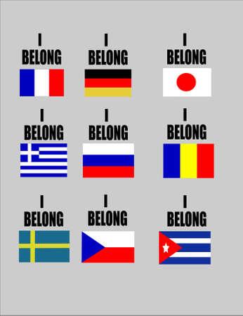 Ik behoor vlaggen van favoriete landen op wit voor sport evenementen Stock Illustratie