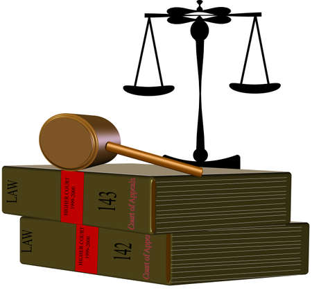 law books with scales of justice on white in 3d