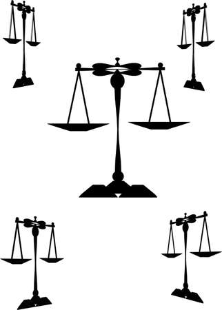 scale icon: scales of justice on white  and various angles