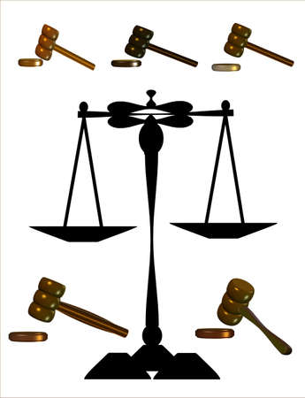 judges gavels with scales on white in 3d  Illustration