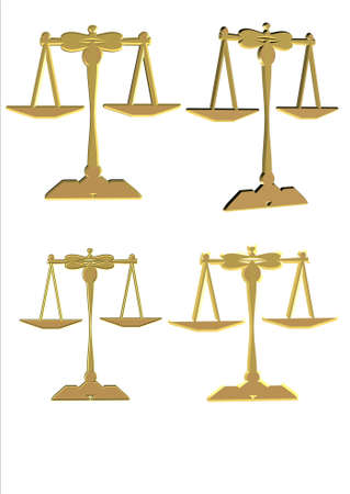 3d scales of justice in gold on white Stock Photo - 7241950