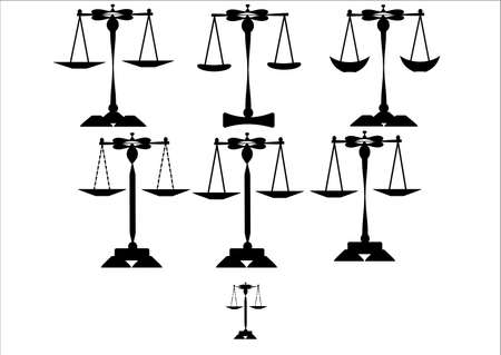 scales of justice series on white  photo