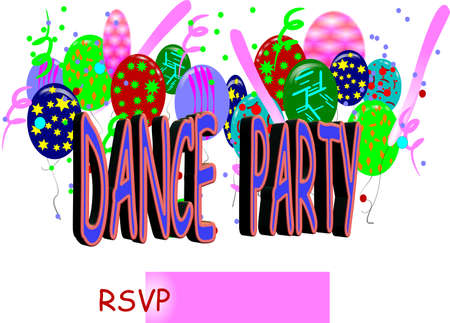 party: dance party invite Illustration