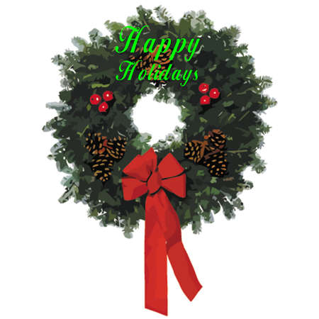 yearly: holiday wreath  with inscription in 3d on white