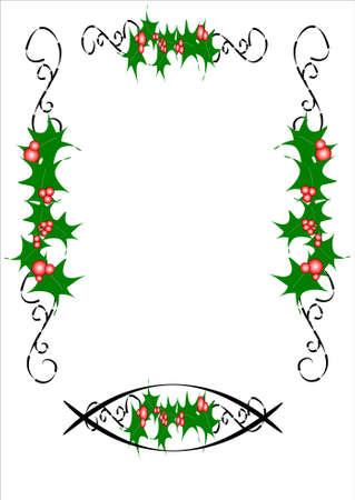holly border with ornate scrolls