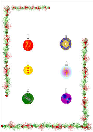 holiday: holly and ornaments for christmas Illustration
