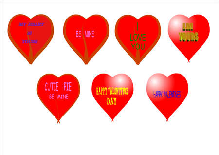 valentine hearts in 3d on white