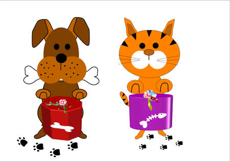 dog and cat  cartoon characters on white Ilustrace