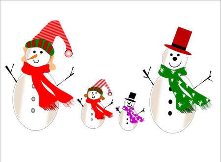 snowman family on white  for christmas