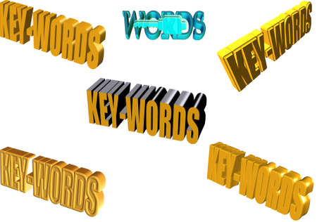 keywords: keywords in text in 3d  on white