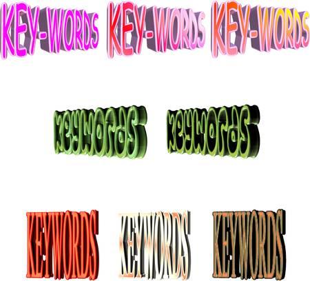 3d keywords on white for internet