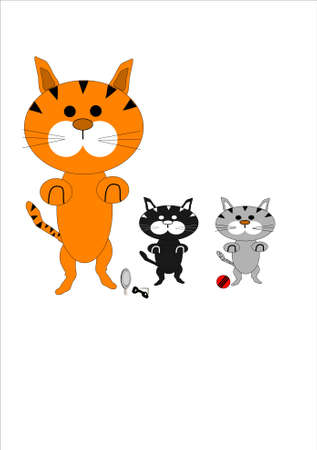 cartoon style illustration of family of cats Ilustração