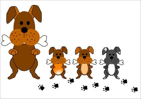 강아지 가족의 만화 스타일 일러스트 레이션