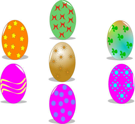 secluded:  decorated easter eggs on white