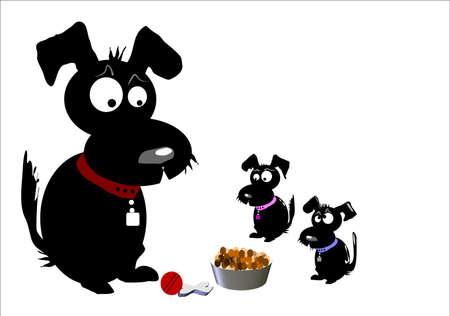 black family: black dog family on white