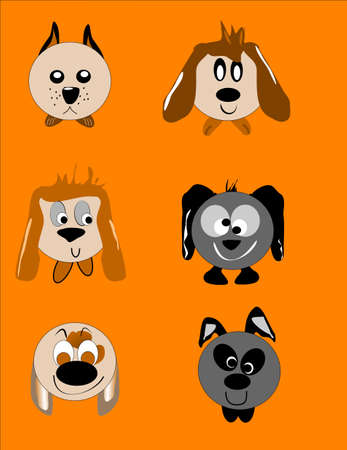 dog faces in cartoon style Stock Vector - 8517924