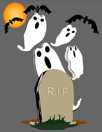 rest in peace illustration for halloween