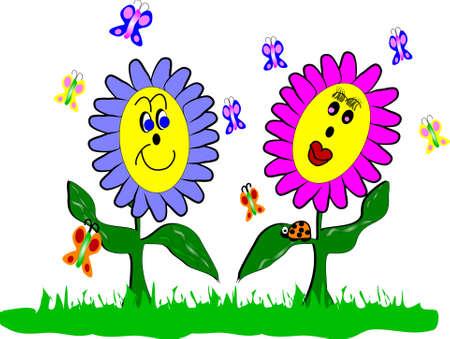 butterfly ladybird: flores de la primavera y el estilo de dibujos animados de Mariquita