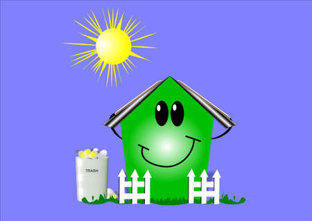 simple logo: eco house on blue with sun and graphic elements
