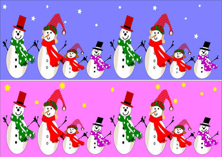 snowman family banners Stock Vector - 8567109