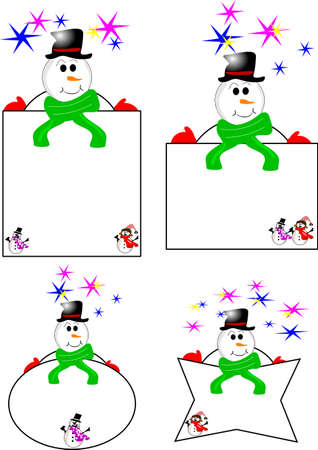 snowman tags  Stock Vector - 8578767