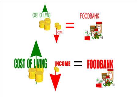 illustrazione di foodbank dei tempi Vettoriali