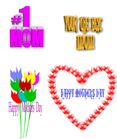 secluded: moms day  elements in 3d and 2d on white Illustration