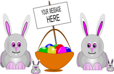 bunnies with easter basket and copy space Vector