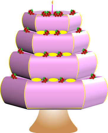 pink cake with deorations Vector