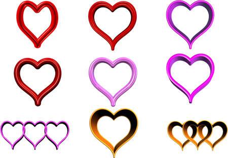 hearts on white Ilustração