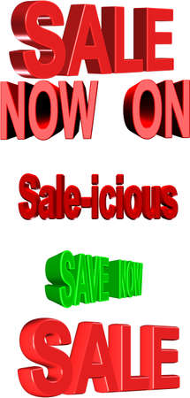 single word: sale signage set in 3d on white