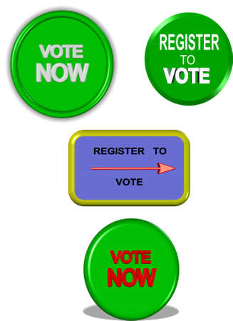 vote: register to vote signage in 3d on white