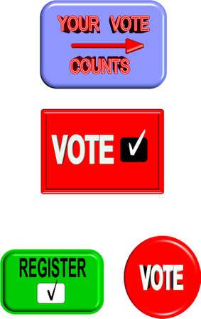 vote: vote signage set in 3d on white Illustration
