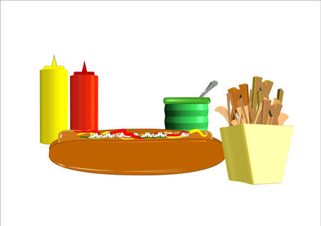 hot dog and fries with condiments Illustration