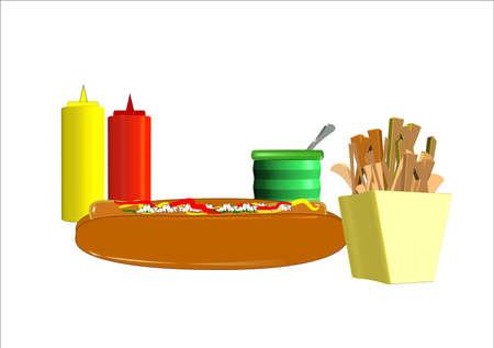 condimentos: perro caliente y papas fritas con condimentos