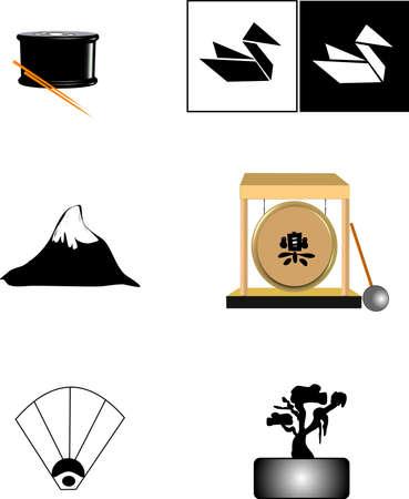 chop sticks: oriental symbols Illustration