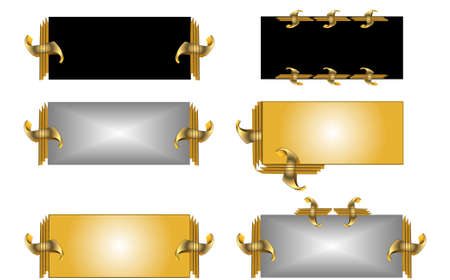 gold: metal tags with gold ornaments