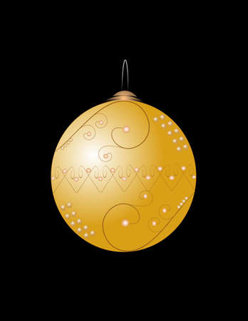 gold: gold christmas bulb on black Illustration