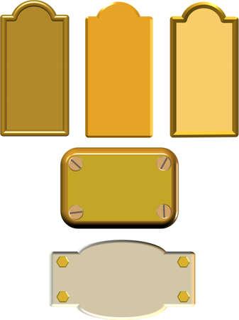 metal 3d name paltes Vector