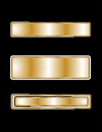 viso: placas de nombre en oro negro Vectores
