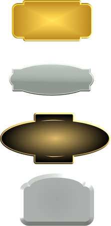 pewter and copper name plates Vector