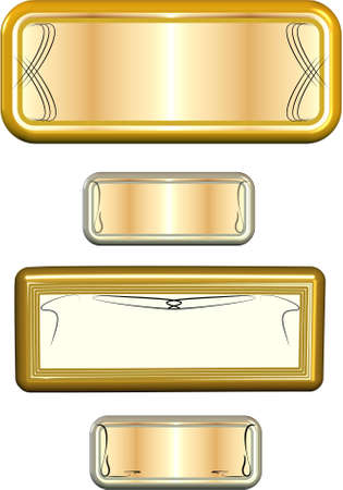 gold  metal labels on white  Vector