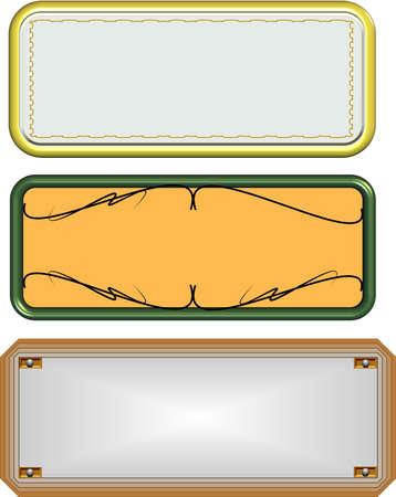 ornamental name plates in metal Stock Photo