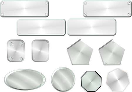 light colored metal name plates Imagens