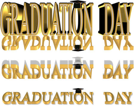 reverse: graduation day in 3d gold with mortar boards