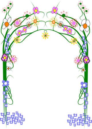 garden trellis with variety of flowers  on white photo