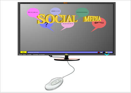 social media on 3d monitor with mouse photo